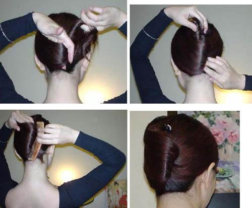 用簪子挽头发的步骤