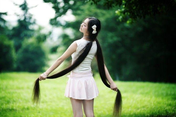 极品美女的超长发