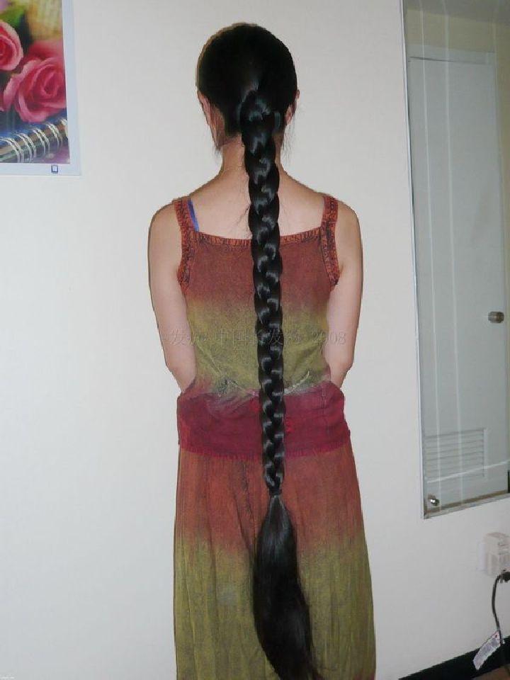橄榄又粗又长的辫子 中国长发网